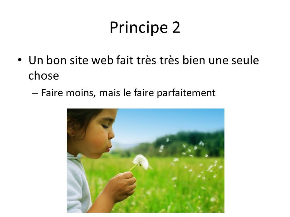 Principe 2 Un bon site web fait très très bien une seule chose – Faire moins, mais le faire parfaitement