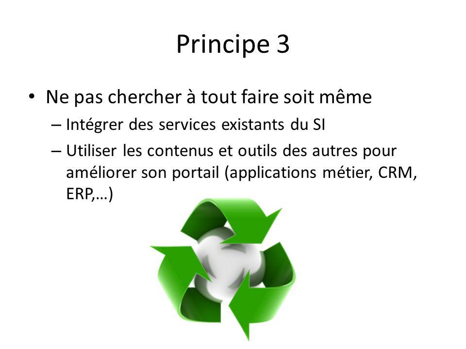 Principe 3 Ne pas chercher à tout faire soit même – Intégrer des services existants du SI – Utiliser les contenus et outils des autres pour améliorer