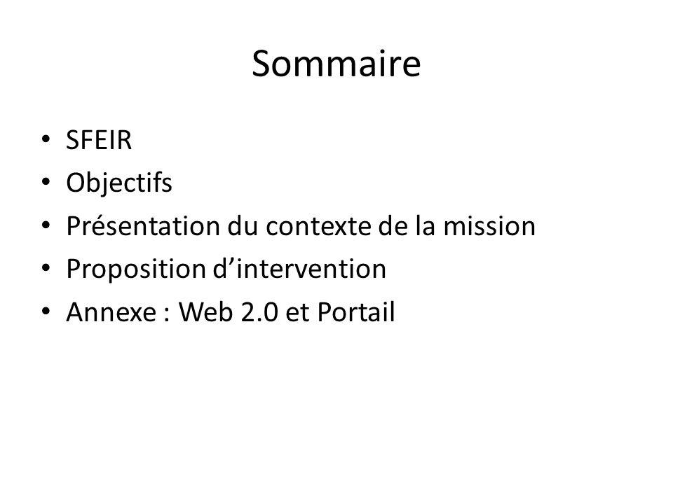 Sommaire SFEIR Objectifs Présentation du contexte de la mission Proposition dintervention Annexe : Web 2.0 et Portail