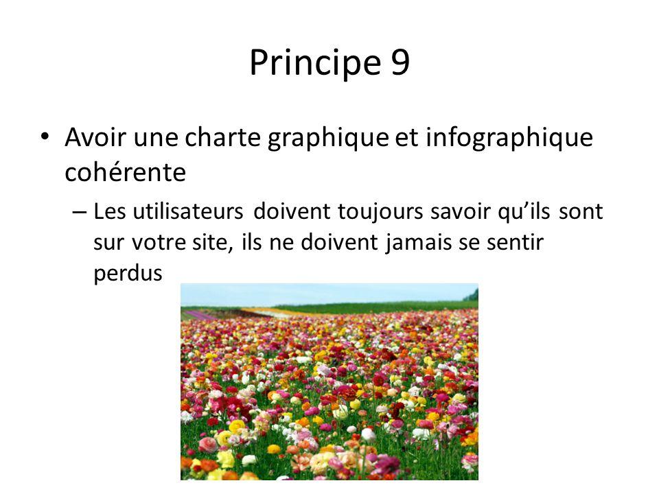 Principe 9 Avoir une charte graphique et infographique cohérente – Les utilisateurs doivent toujours savoir quils sont sur votre site, ils ne doivent