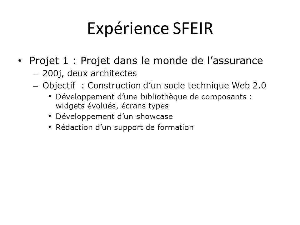 Expérience SFEIR Projet 1 : Projet dans le monde de lassurance – 200j, deux architectes – Objectif : Construction dun socle technique Web 2.0 Développ