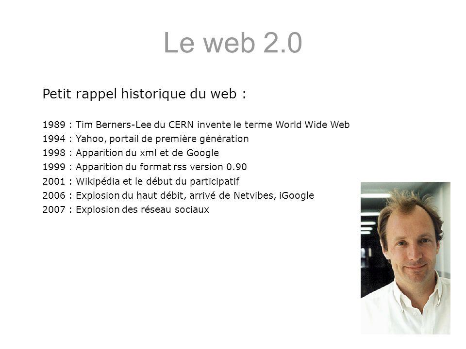 Le web 2.0 Petit rappel historique du web : 1989 : Tim Berners-Lee du CERN invente le terme World Wide Web 1994 : Yahoo, portail de première génératio