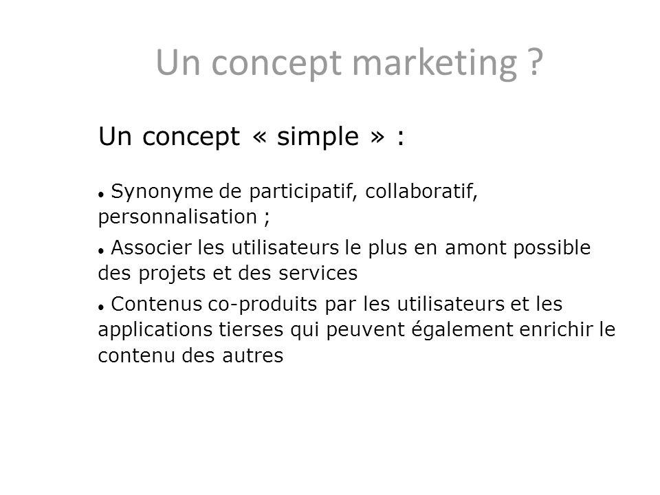 Un concept marketing ? Un concept « simple » : Synonyme de participatif, collaboratif, personnalisation ; Associer les utilisateurs le plus en amont p