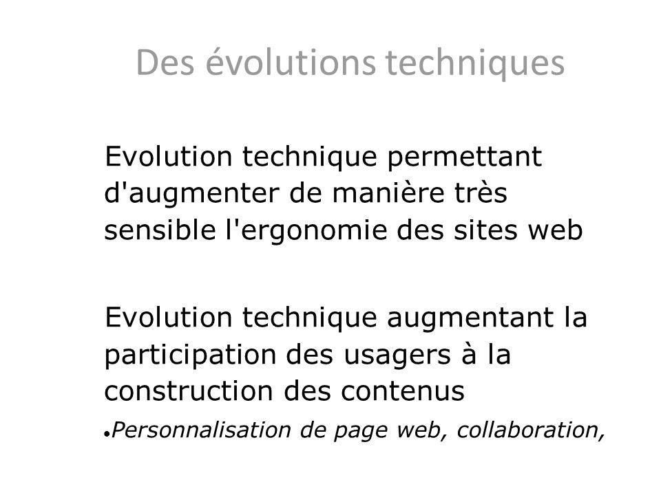Des évolutions techniques Evolution technique permettant d'augmenter de manière très sensible l'ergonomie des sites web Evolution technique augmentant