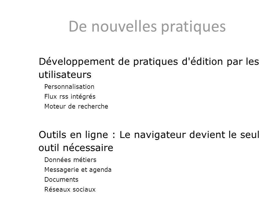 De nouvelles pratiques Développement de pratiques d'édition par les utilisateurs Personnalisation Flux rss intégrés Moteur de recherche Outils en lign