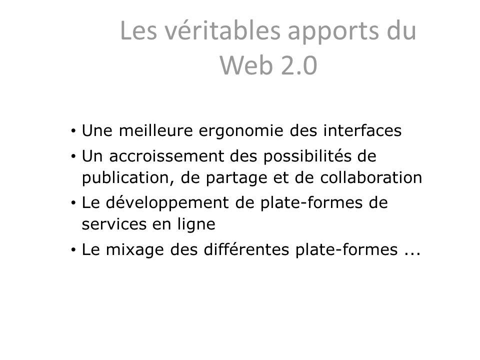 Les véritables apports du Web 2.0 Une meilleure ergonomie des interfaces Un accroissement des possibilités de publication, de partage et de collaborat