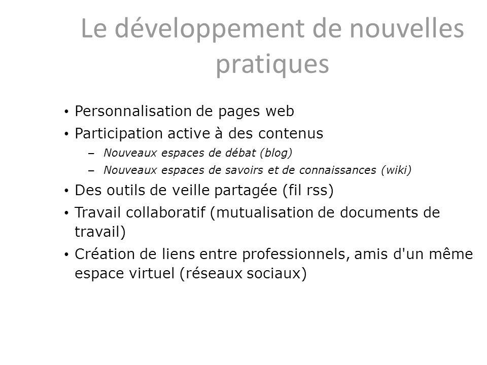 Le développement de nouvelles pratiques Personnalisation de pages web Participation active à des contenus – Nouveaux espaces de débat (blog) – Nouveau