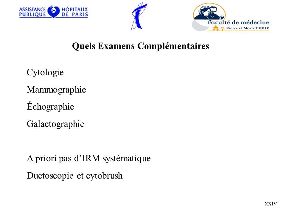 Quels Examens Complémentaires Cytologie Mammographie Échographie Galactographie A priori pas dIRM systématique Ductoscopie et cytobrush XXIV