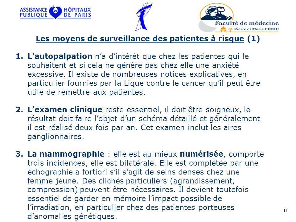 Les moyens de surveillance des patientes à risque (1) 1.Lautopalpation na dintérêt que chez les patientes qui le souhaitent et si cela ne génère pas c