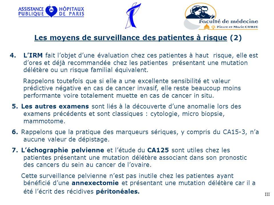 4.LIRM fait lobjet dune évaluation chez ces patientes à haut risque, elle est dores et déjà recommandée chez les patientes présentant une mutation dél
