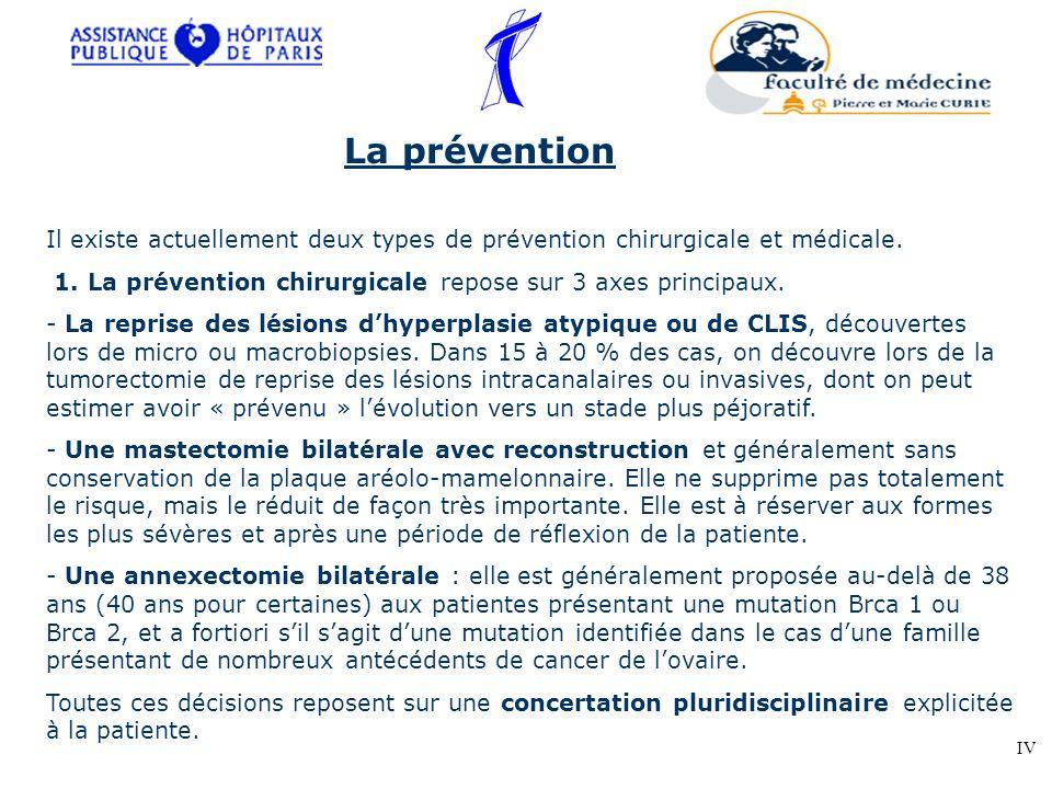 La prévention Il existe actuellement deux types de prévention chirurgicale et médicale. 1. La prévention chirurgicale repose sur 3 axes principaux. -