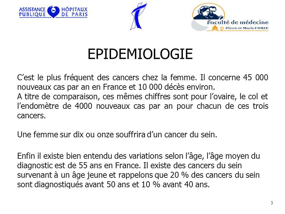 Cest le plus fréquent des cancers chez la femme. Il concerne 45 000 nouveaux cas par an en France et 10 000 décès environ. A titre de comparaison, ces