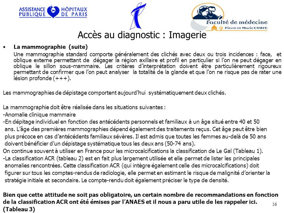 Accès au diagnostic : Imagerie La mammographie (suite) Une mammographie standard comporte généralement des clichés avec deux ou trois incidences : fac