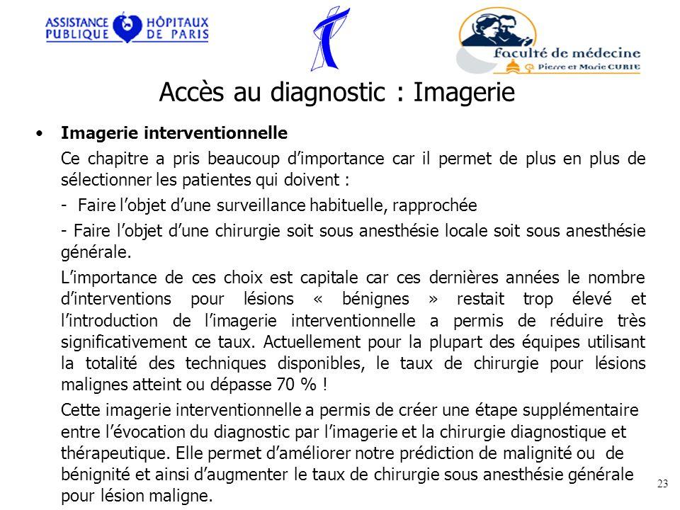 Imagerie interventionnelle Ce chapitre a pris beaucoup dimportance car il permet de plus en plus de sélectionner les patientes qui doivent : - Faire l