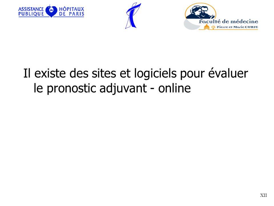 Il existe des sites et logiciels pour évaluer le pronostic adjuvant - online XII