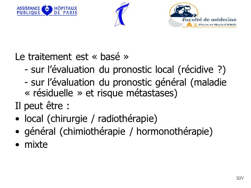 Le traitement est « basé » - sur lévaluation du pronostic local (récidive ?) - sur lévaluation du pronostic général (maladie « résiduelle » et risque