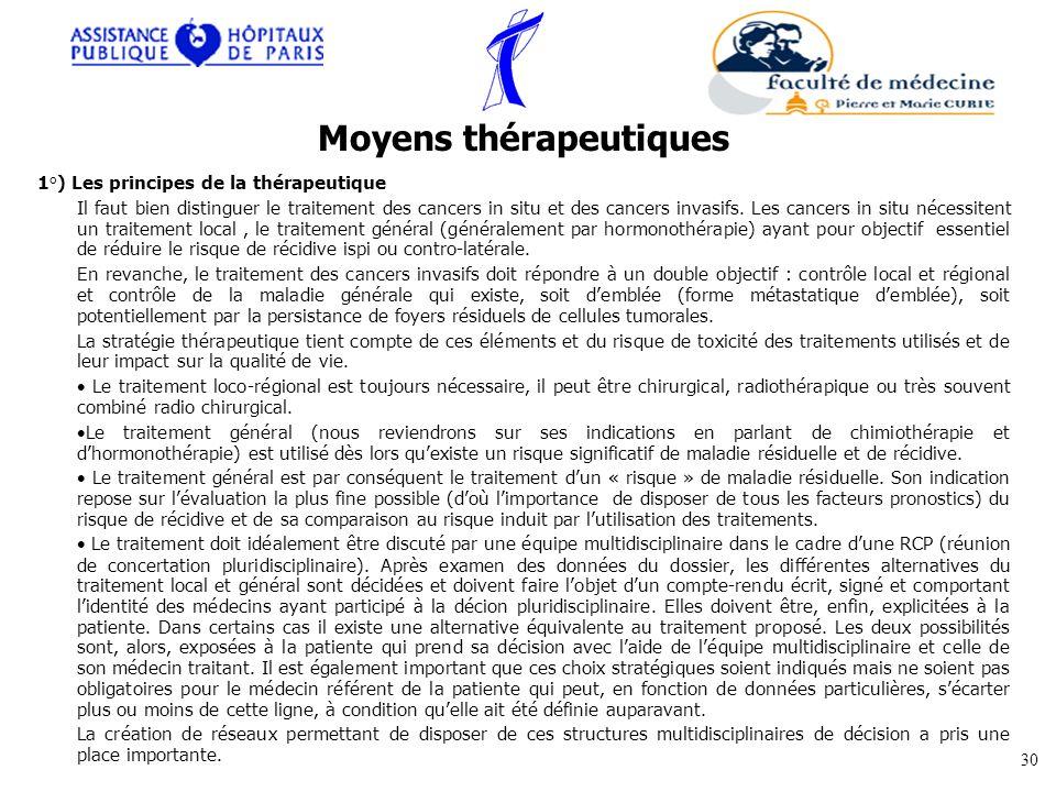 1°) Les principes de la thérapeutique Il faut bien distinguer le traitement des cancers in situ et des cancers invasifs. Les cancers in situ nécessite