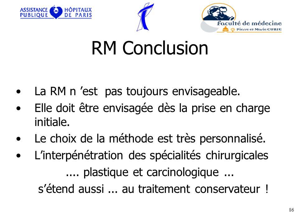 RM Conclusion La RM n est pas toujours envisageable. Elle doit être envisagée dès la prise en charge initiale. Le choix de la méthode est très personn