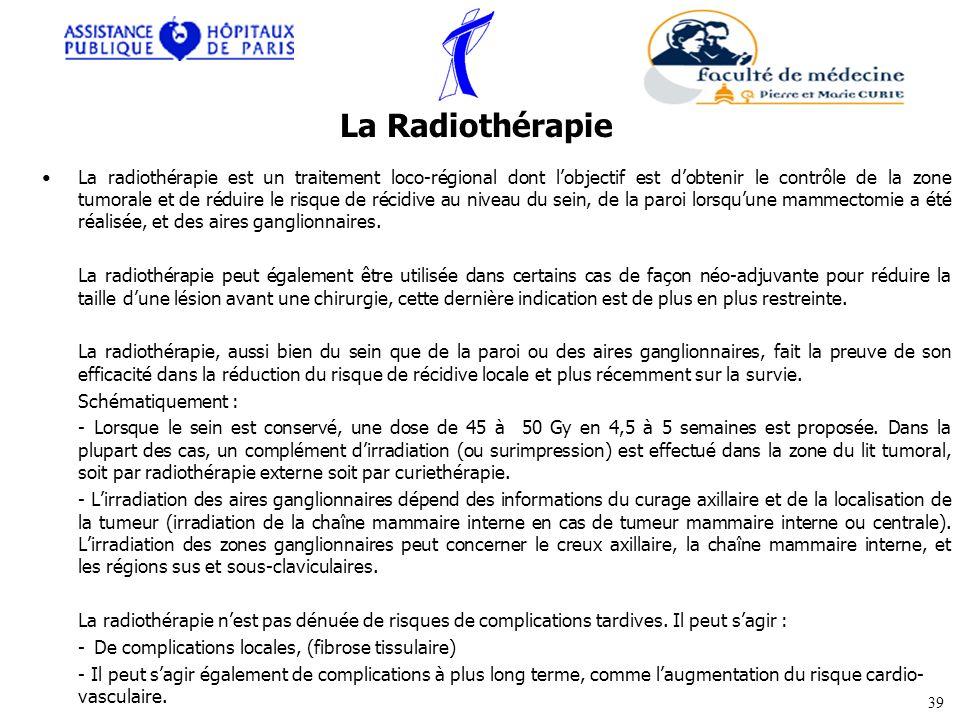 La radiothérapie est un traitement loco-régional dont lobjectif est dobtenir le contrôle de la zone tumorale et de réduire le risque de récidive au ni