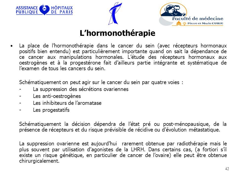 La place de lhormonothérapie dans le cancer du sein (avec récepteurs hormonaux positifs bien entendu) est particulièrement importante quand on sait la