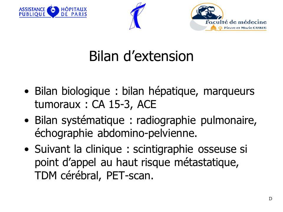 Bilan dextension Bilan biologique : bilan hépatique, marqueurs tumoraux : CA 15-3, ACE Bilan systématique : radiographie pulmonaire, échographie abdom
