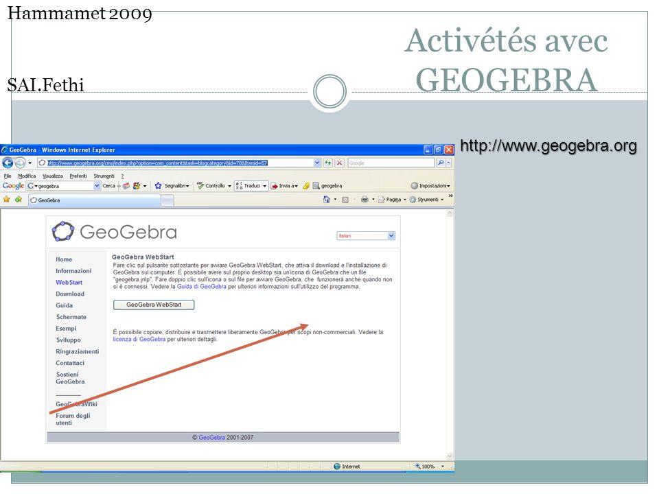 Activétés avec GEOGEBRA Hammamet 2009 SAI.Fethihttp://www.geogebra.org