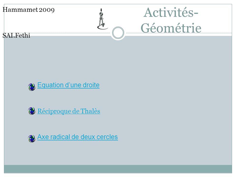 Activités- Géométrie Hammamet 2009 SAI.Fethi Equation dune droite Réciproque de Thalès Axe radical de deux cercles