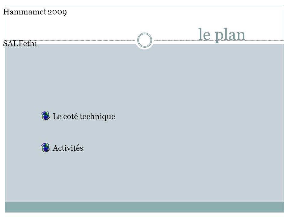 le plan Hammamet 2009 SAI.Fethi Le coté technique Activités