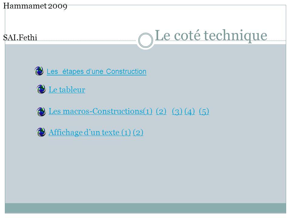 Le coté technique Hammamet 2009 SAI.Fethi Le tableur Les macros-Constructions(1) (2) (3) (4) (5) Affichage dun texte (1) (2) Les étapes dune Construct