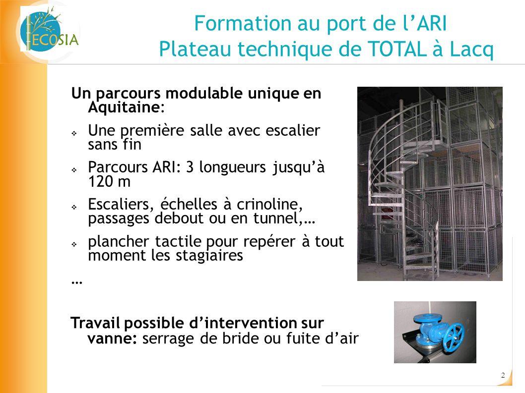 2 Formation au port de lARI Plateau technique de TOTAL à Lacq Un parcours modulable unique en Aquitaine: Une première salle avec escalier sans fin Par