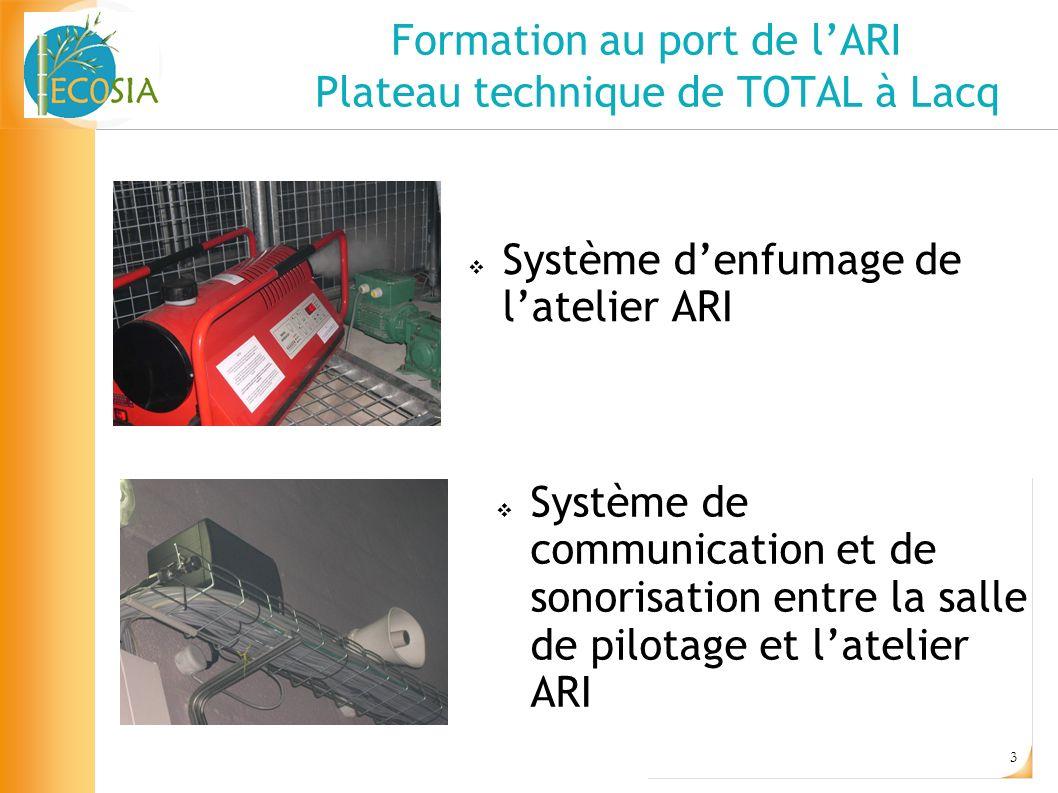 3 Formation au port de lARI Plateau technique de TOTAL à Lacq Système denfumage de latelier ARI Système de communication et de sonorisation entre la s