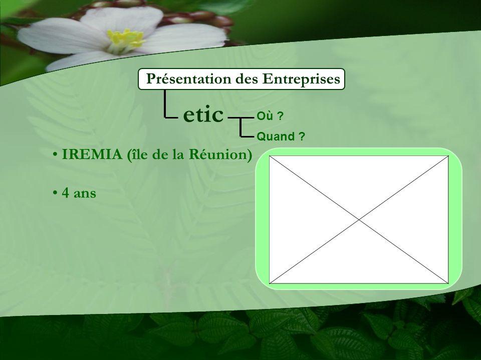 Présentation des Entreprises etic IREMIA (île de la Réunion) 4 ans Où ? Quand ?