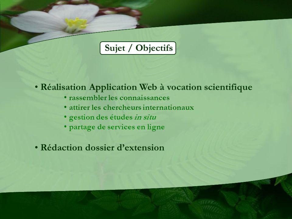 Réalisation Application Web à vocation scientifique rassembler les connaissances attirer les chercheurs internationaux gestion des études in situ partage de services en ligne Rédaction dossier dextension