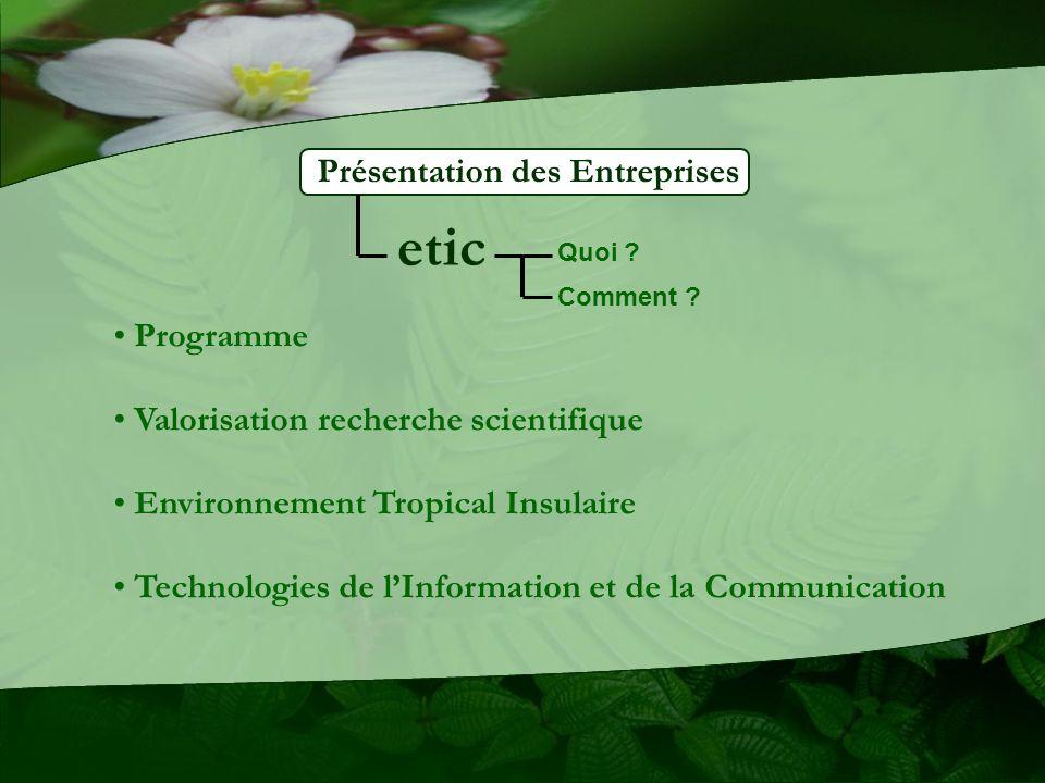 Présentation des Entreprises etic Programme Valorisation recherche scientifique Environnement Tropical Insulaire Technologies de lInformation et de la Communication Quoi .