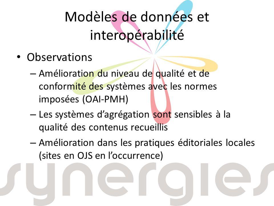 Modèles de données et interopérabilité Observations – Amélioration du niveau de qualité et de conformité des systèmes avec les normes imposées (OAI-PMH) – Les systèmes dagrégation sont sensibles à la qualité des contenus recueillis – Amélioration dans les pratiques éditoriales locales (sites en OJS en loccurrence)