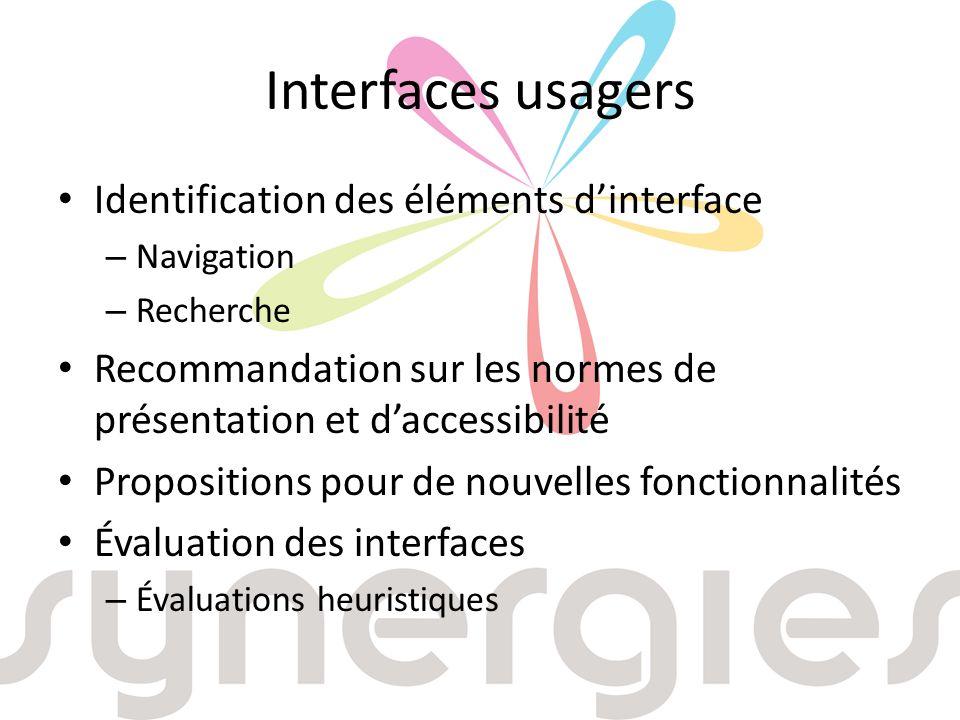 Interfaces usagers Identification des éléments dinterface – Navigation – Recherche Recommandation sur les normes de présentation et daccessibilité Propositions pour de nouvelles fonctionnalités Évaluation des interfaces – Évaluations heuristiques
