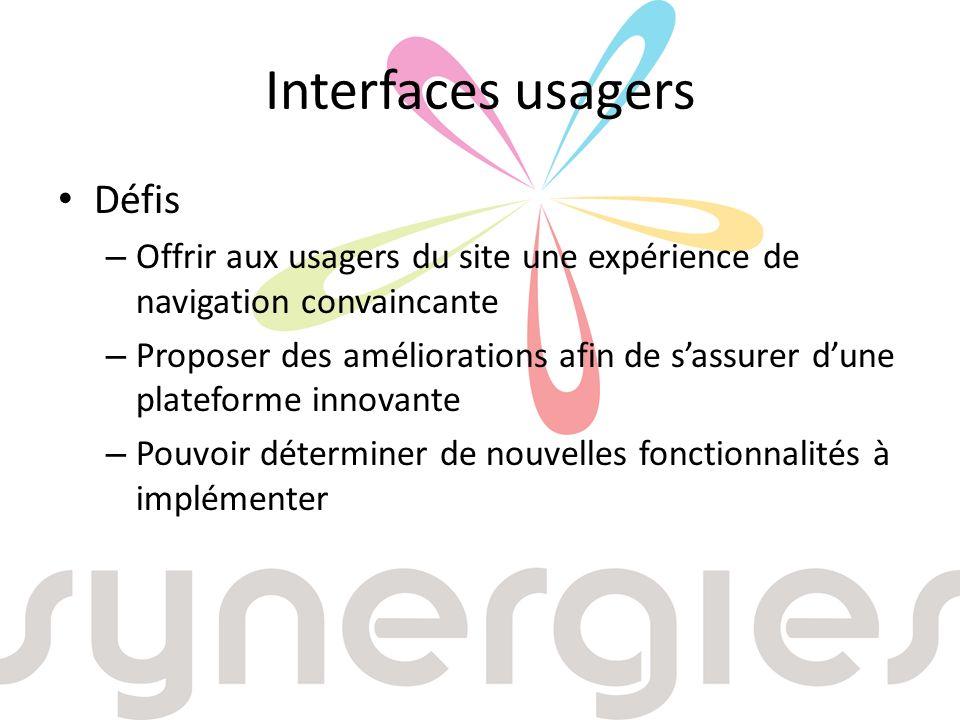 Interfaces usagers Défis – Offrir aux usagers du site une expérience de navigation convaincante – Proposer des améliorations afin de sassurer dune plateforme innovante – Pouvoir déterminer de nouvelles fonctionnalités à implémenter