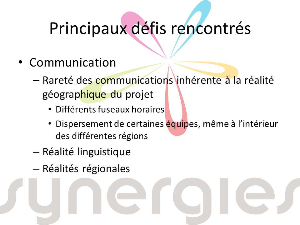 Principaux défis rencontrés Communication – Rareté des communications inhérente à la réalité géographique du projet Différents fuseaux horaires Dispersement de certaines équipes, même à lintérieur des différentes régions – Réalité linguistique – Réalités régionales