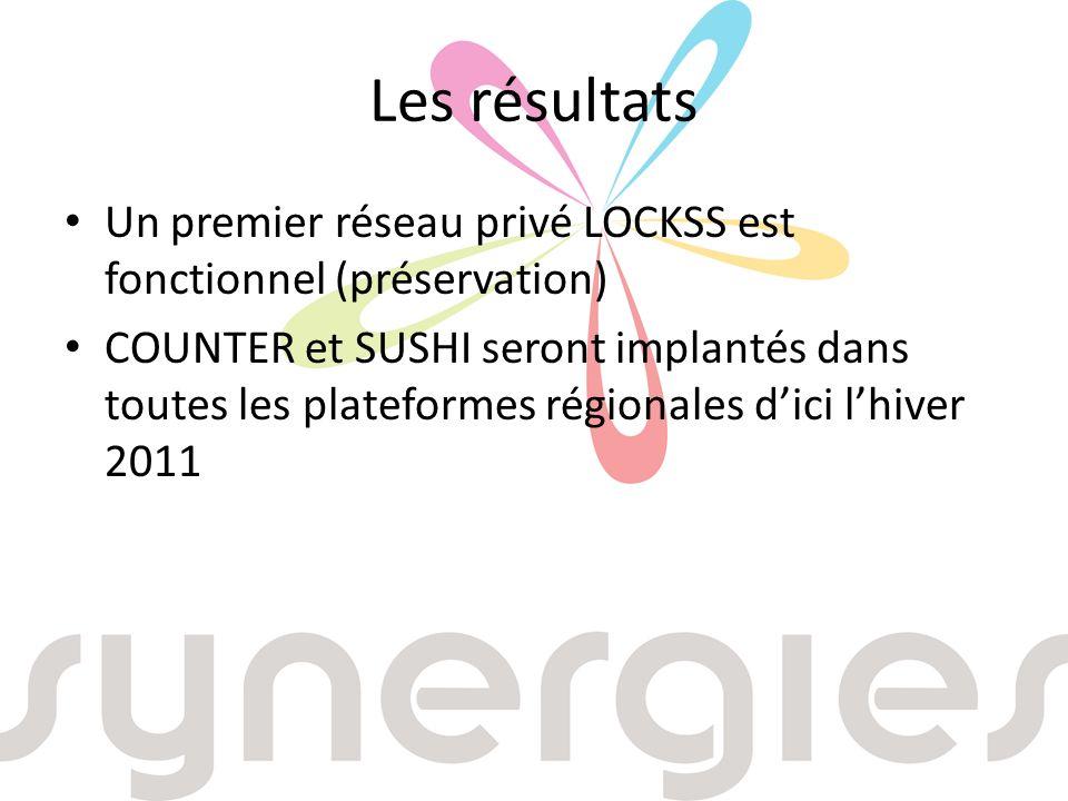 Les résultats Un premier réseau privé LOCKSS est fonctionnel (préservation) COUNTER et SUSHI seront implantés dans toutes les plateformes régionales dici lhiver 2011