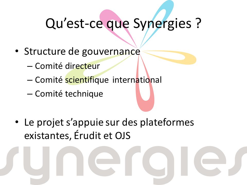 Quest-ce que Synergies .