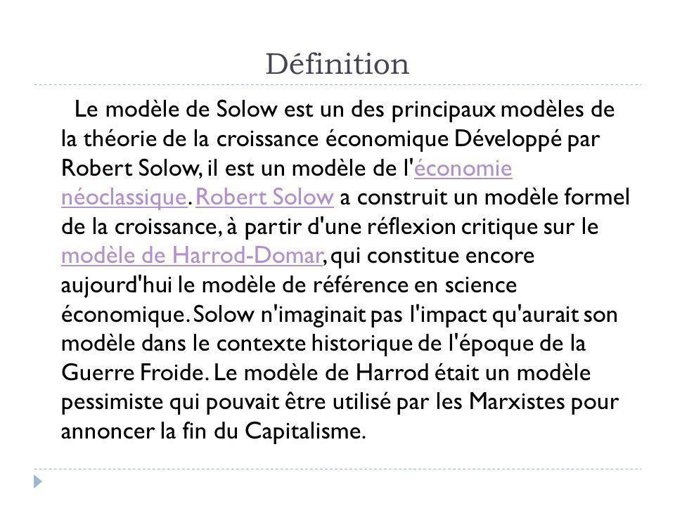 Définition Le modèle de Solow est un des principaux modèles de la théorie de la croissance économique Développé par Robert Solow, il est un modèle de l économie néoclassique.