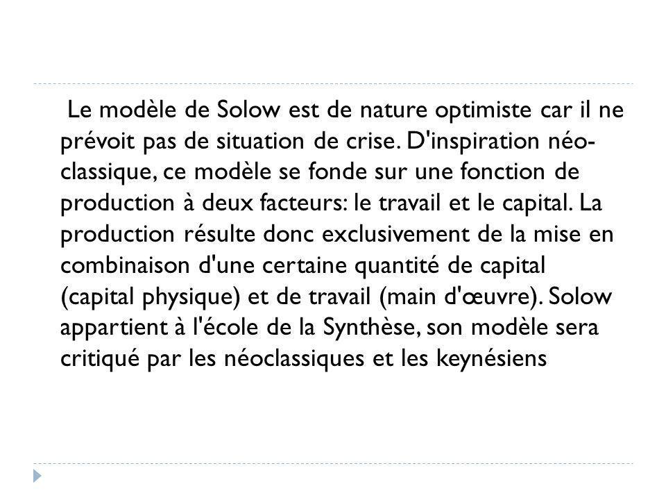 Le modèle de Solow est de nature optimiste car il ne prévoit pas de situation de crise.
