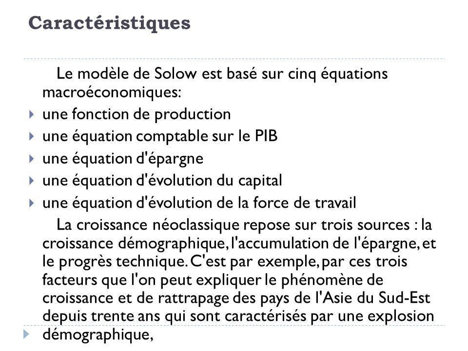 Caractéristiques Le modèle de Solow est basé sur cinq équations macroéconomiques: une fonction de production une équation comptable sur le PIB une équation d épargne une équation d évolution du capital une équation d évolution de la force de travail La croissance néoclassique repose sur trois sources : la croissance démographique, l accumulation de l épargne, et le progrès technique.