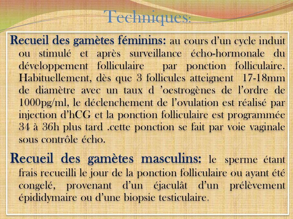 Recueil des gamètes féminins: au cours dun cycle induit ou stimulé et après surveillance écho-hormonale du développement folliculaire par ponction fol