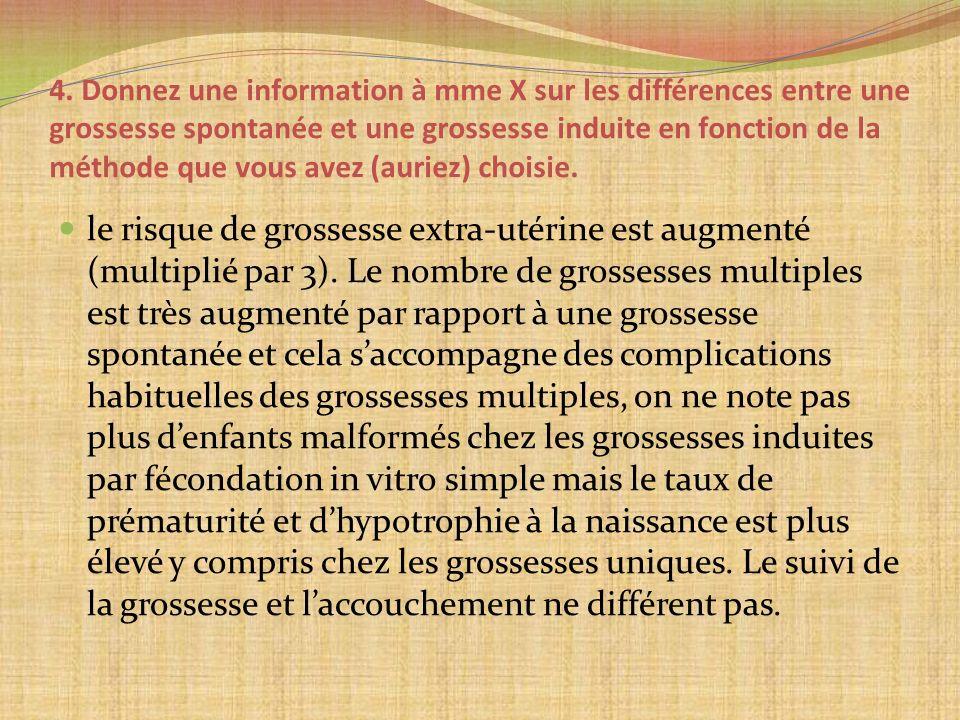 4. Donnez une information à mme X sur les différences entre une grossesse spontanée et une grossesse induite en fonction de la méthode que vous avez (
