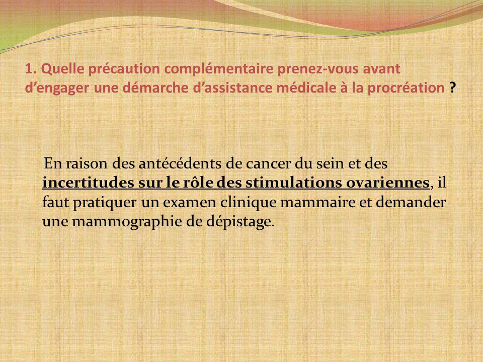 1. Quelle précaution complémentaire prenez-vous avant dengager une démarche dassistance médicale à la procréation ? En raison des antécédents de cance