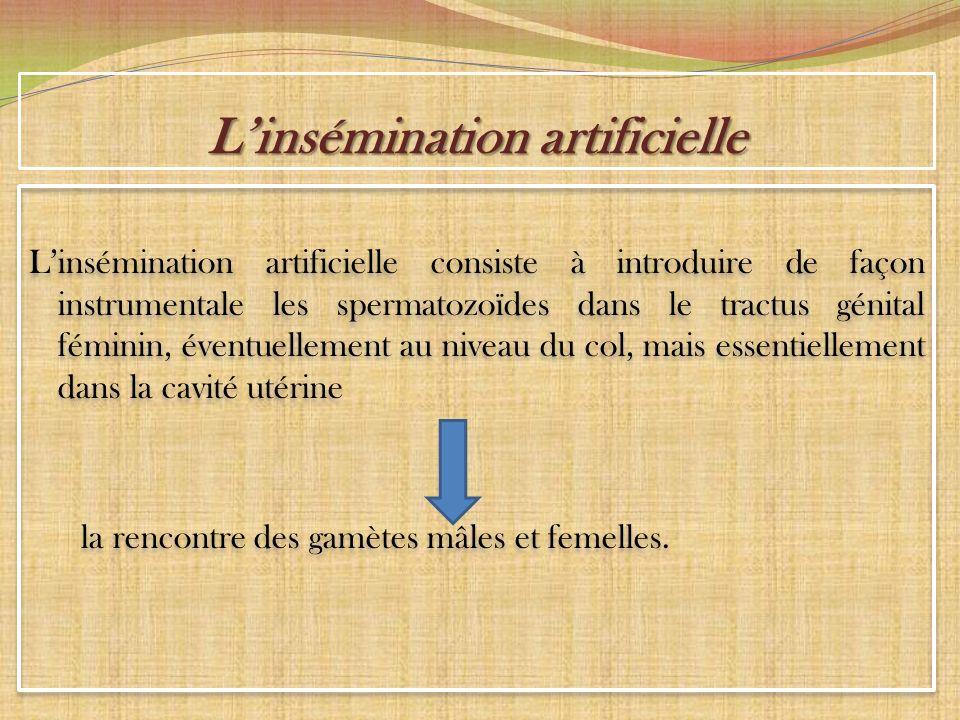 Linsémination artificielle Linsémination artificielle consiste à introduire de façon instrumentale les spermatozoïdes dans le tractus génital féminin,