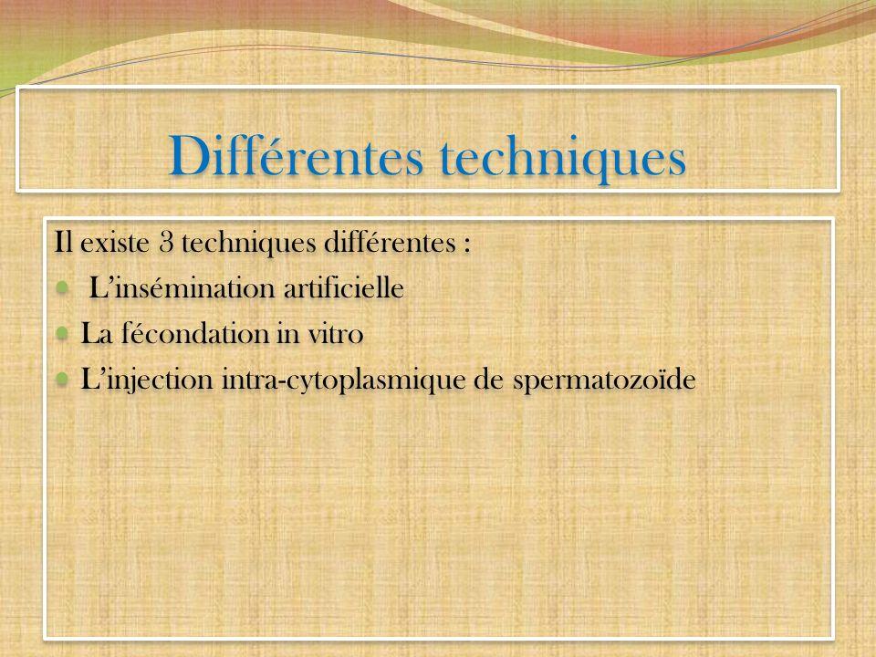 Différentes techniques Il existe 3 techniques différentes : Linsémination artificielle La fécondation in vitro Linjection intra-cytoplasmique de sperm