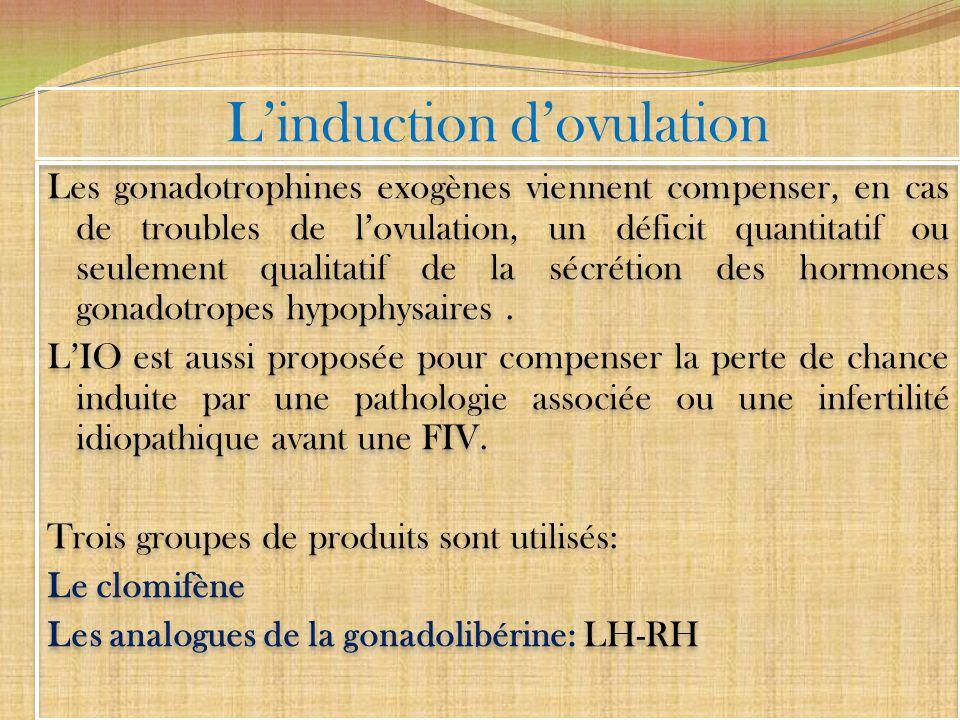 Linduction dovulation Les gonadotrophines exogènes viennent compenser, en cas de troubles de lovulation, un déficit quantitatif ou seulement qualitati