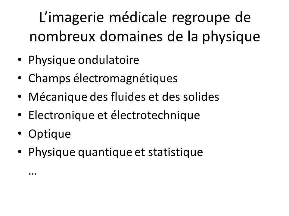 Limagerie médicale regroupe de nombreux domaines de la physique Physique ondulatoire Champs électromagnétiques Mécanique des fluides et des solides Electronique et électrotechnique Optique Physique quantique et statistique …